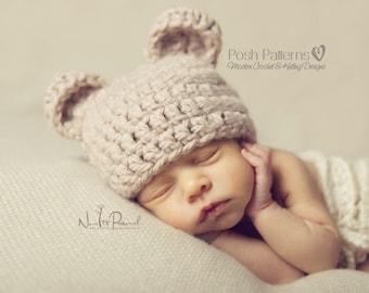 Crochet PATTERN - Crochet Bear Hat Pattern - Baby Bear Hat - Crochet Hat Pattern - Baby, Toddler, Kids, Adult Sizes - Photo Prop - PDF 214