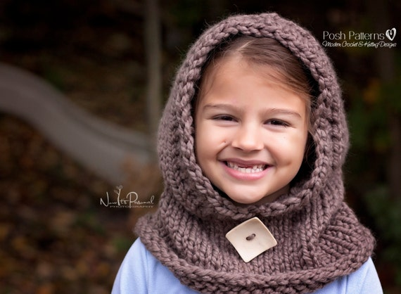 Knitting Patterns Knit Hooded Cowl Hooded Scarf Knit Etsy