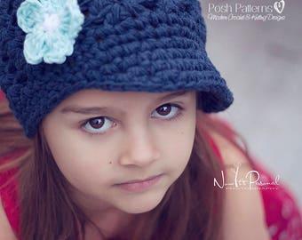 Crochet PATTERN - Crochet Hat Pattern - Crochet Newsboy Hat Pattern - Baby Hat Crochet Pattern - Baby, Toddler, Child, Adult Sizes - PDF 404