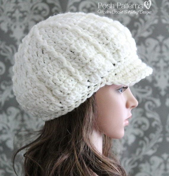Crochet Pattern Crochet Newsboy Hat Pattern Slouchy Hat Etsy