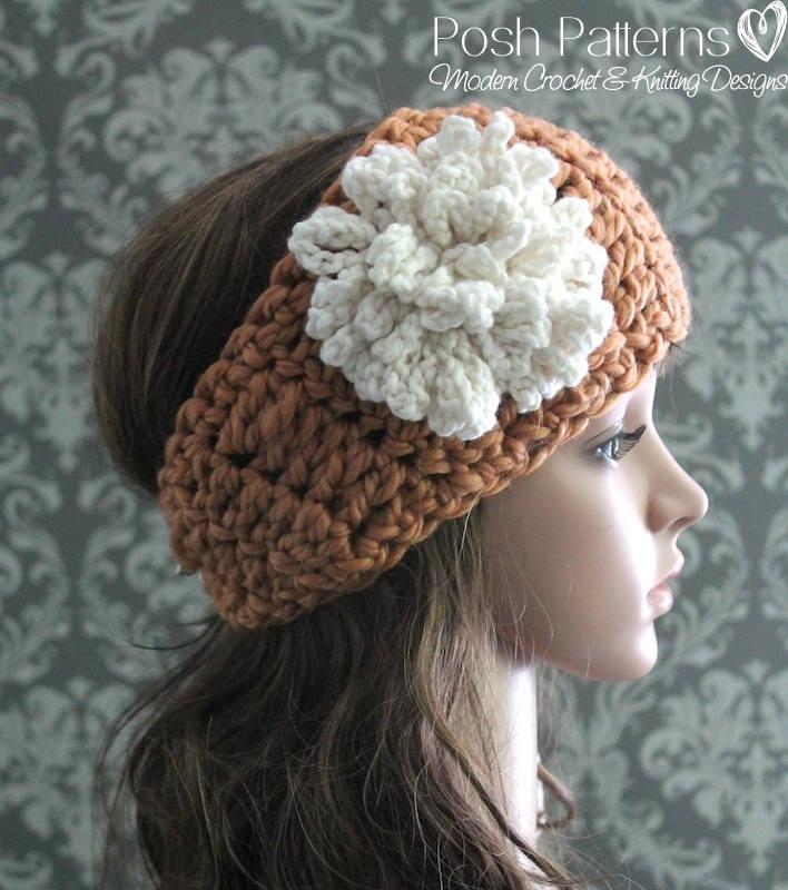 Crochet Pattern Crochet Headband Pattern With Flower Easy Etsy