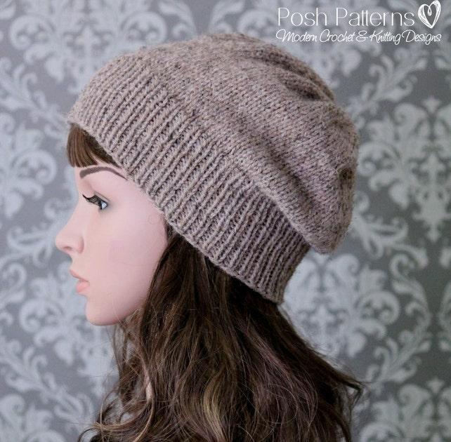Knitting Pattern Slouchy Hat Knitting Pattern Knit Slouchy Etsy