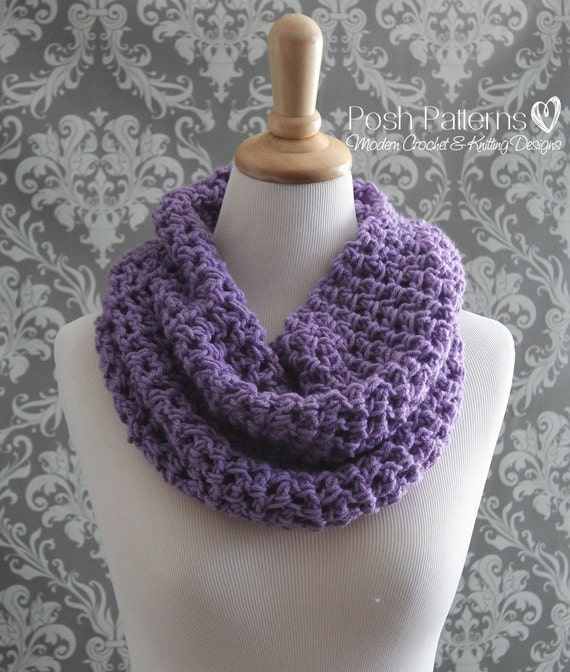 Crochet Patterns Crochet Pattern Crochet Infinity Scarf Etsy