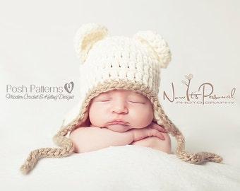 Crochet PATTERN - Baby Crochet Pattern - Baby Shower Gift - Crochet Hat Pattern - Crochet Baby Hat - Crochet Bear Hat - 5 Sizes - PDF 186