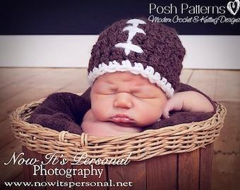 Crochet PATTERN for Football Hat - Crochet Hat Pattern - Crochet Pattern Baby - Crochet Patterns for Boys and Men - 6 Sizes - PDF 162