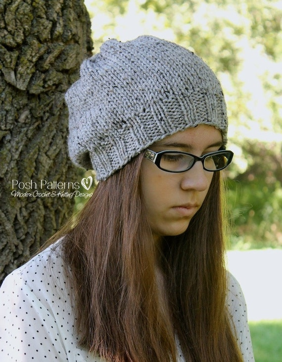 Knitting Pattern Slouchy Hat Knitting Patterns Knitting Etsy