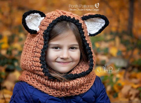 Knitting Pattern Fox Hooded Cowl Hooded Cowl Hooded Fox Etsy