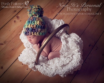 Crochet PATTERN - Crochet Hat Pattern - Crochet Patterns - Hand Spun Pom Pom Beanie - Includes Baby, Toddler, Child, Adult Sizes - PDF 225