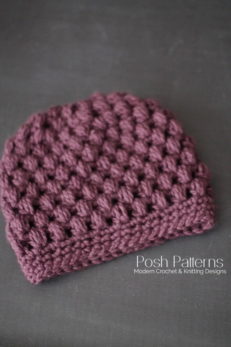ea1e4e3ca Crochet PATTERN - Puff Stitch Crochet Messy Bun Hat Pattern - Crochet Hat  Pattern - Ponytail Hat - Toddler, Child, Adult Sizes - PDF 441