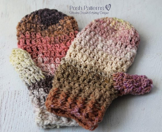Crochet Pattern Easy Crochet Mittens Pattern Mitten Etsy