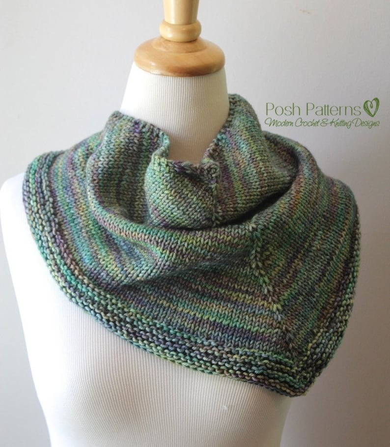 Knitting Pattern Triangle Scarf Pattern Knit Scarf Pattern Etsy
