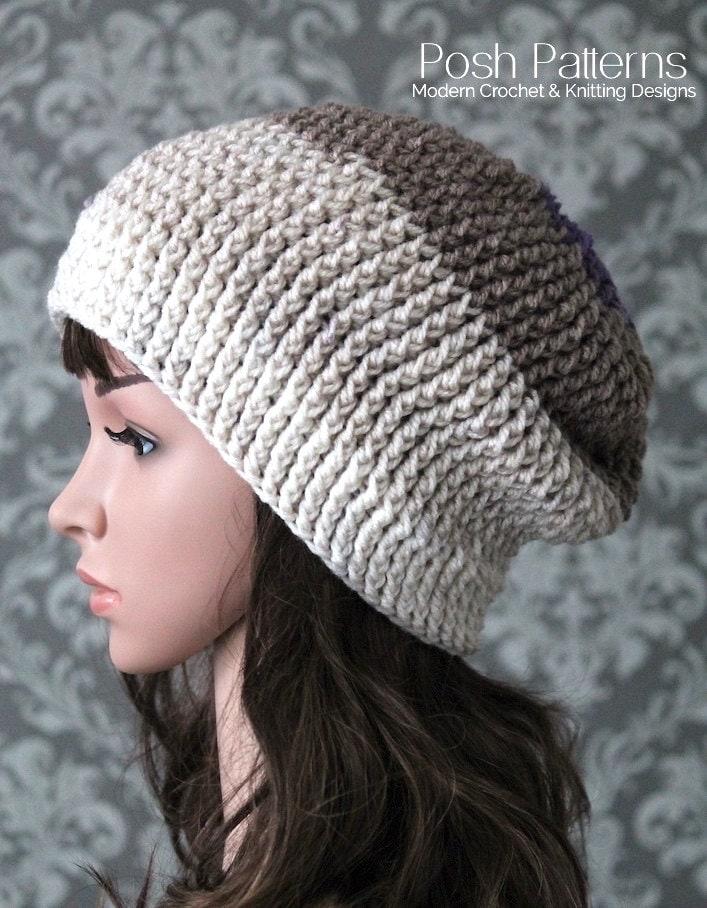 Crochet Pattern Crochet Slouchy Hat Pattern Easy Crochet Etsy