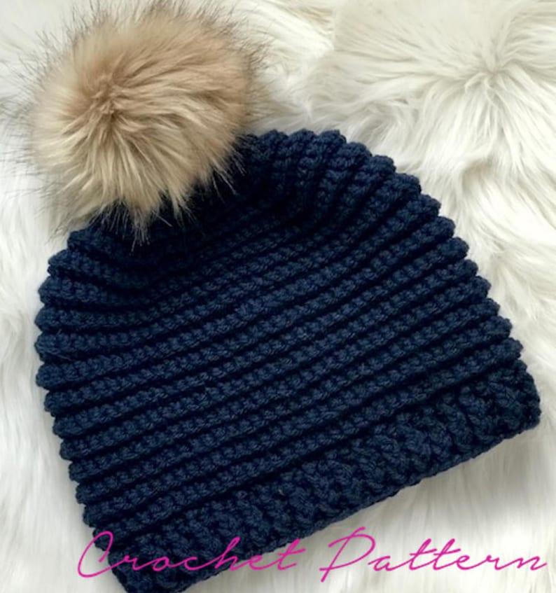 Crochet Pattern Knit Look Crochet Hat Pattern Easy Crochet Etsy