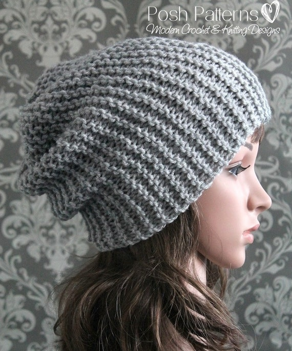 Knitting Pattern Easy Beginner Knit Slouchy Hat Pattern Etsy