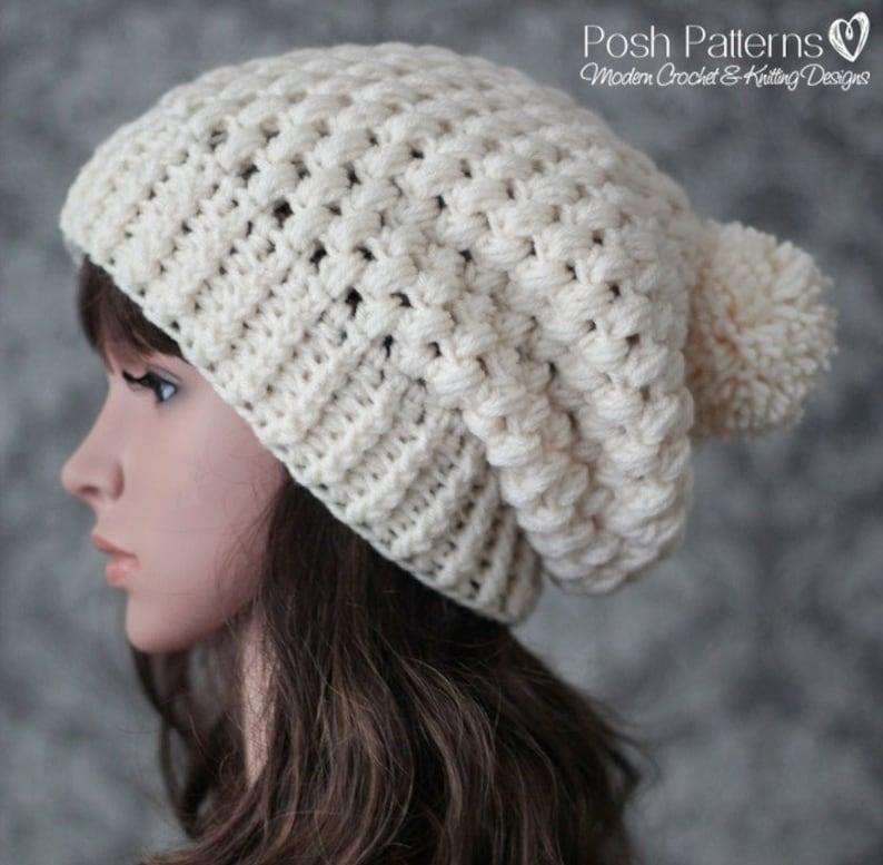 328b809e6 Crochet PATTERN - Crochet Pattern Hat - Slouchy Hat Pattern - Puff Stitch  Crochet Hat Pattern - Baby, Toddler, Child, Adult Sizes - PDF 437