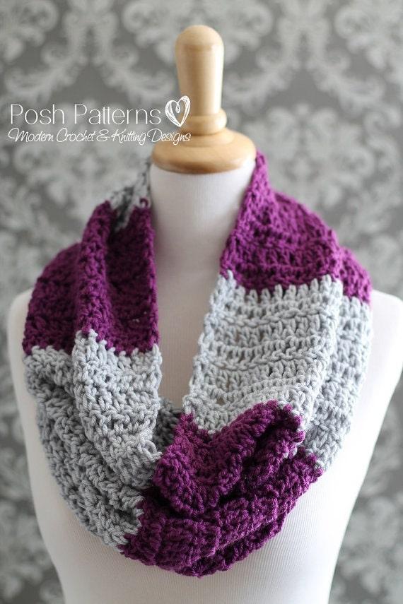 Crochet Pattern Infinity Scarf Pattern Easy Striped Cowl Etsy