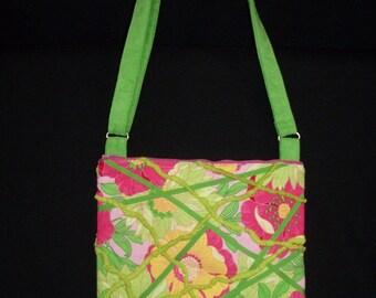purse bag handbag sachel cross body strap purse in pink and green