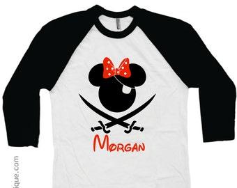 Girls Disney Pirate Cruise Shirt - Family Vacation Shirts Mickey - Personalized Name - Kids Child Children's