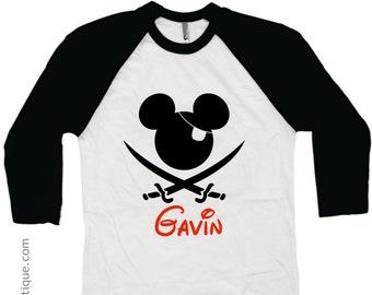 Boys Disney Pirate Cruise Shirt - Family Vacation Shirts Mickey - Personalized Name - Kids Child Children's