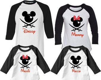 ac2eaf6272 Disney Family Shirts Cruise - Pirate Night - Family Vacation Mickey -  Personalized Name - Daddy Dad Men Mom Child Youth Girls Boys Raglan