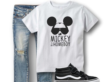 5b46121a5 Mickey is my Homeboy shirt, Mickey shirt for boys,boys Disney shirt,  Disneyworld Disneyland World Land Kids Toddler Short Sleeve Shirt
