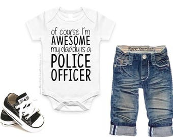 Police Officer Gift, Father's Day gift, Police Officer Onesie, Policeman, Fathers Day present from baby, daddy, dad, new dad gift, police
