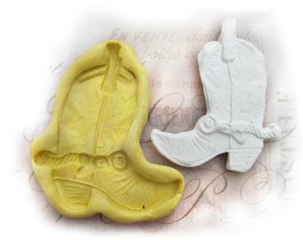 Cowboy Boot mold,  silicone mold ,  Western mold  -  craft mold - food mold - push mold - soap mold - - # 55