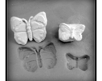 Bisque butterfly stamps (set of 2) for stamping on stoneware clay, polymer clay, metal clay, crafts ( 46)
