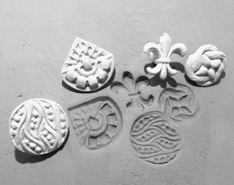 pottery stamps - Bisque clay stamps - crafting stamps - pattern tool -  ( set of 4 new patterned stamps)   #  309