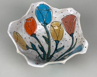 Bowl with Tulip Design, Stoneware, Handbuilt, Paint, Functional 26 Ounces Ready to Ship Made in the United States