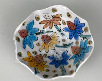 Bowl with Botanical Design, Stoneware, Handbuilt, Paint, Functional 18 Ounces Ready to Ship Made in the United States
