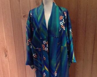 Vintage silk japanese full length wedding kimono with green & blue cherry design