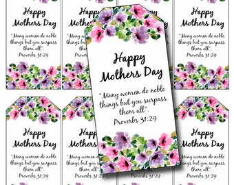 Mothers Day Red Cherries Tag Set Printable Gingham Instant Digital Download Gift Tags Vintage Mothers Day Retro Kitchen