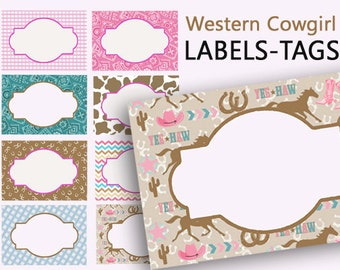 Cowgirl Party Decor Food Tent Cards Cowgirl Place Card Labels 0032 Editable Cowgirl Food Cards Buffet Label Table Card Printable