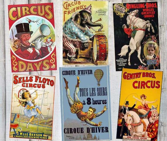 Six Tres Grandes Affiches De Cirque Vintage Fichiers Etsy