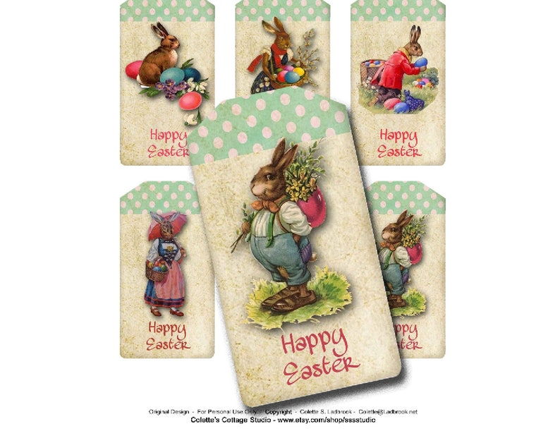 Easter Bunny Tags Digital Easter Tags Collage Craft Etsy