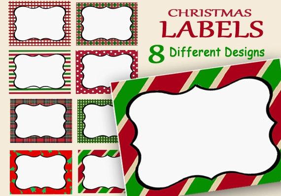 christmas labels custom printable holiday name tags food etsy