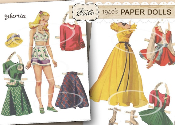 image about Printable Vintage Paper Dolls known as Basic Paper Dolls Printable Paper Doll Clip Artwork 1940 Paper Doll with Garments Roller Skates colourful clothing Gloria paper doll yellow gown