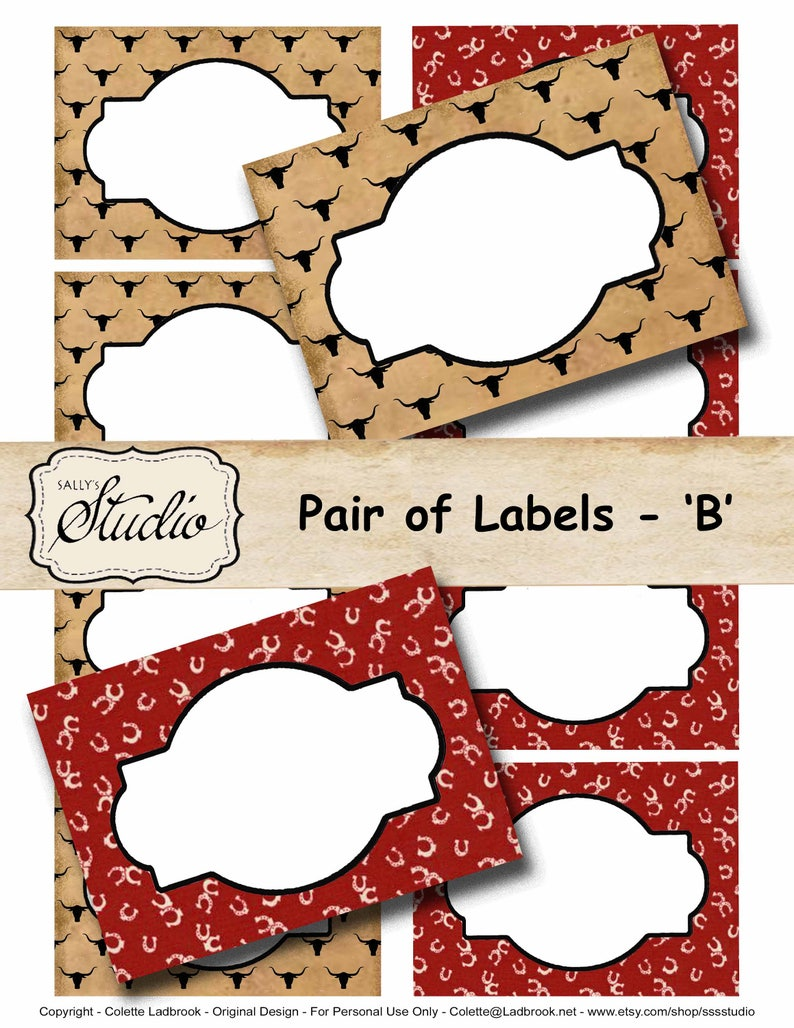 Country Western Tags digital Labels Food Label, Cowboy Party Labels  Printable Labels Gift Tag, Place Cards Birthday Party name tags
