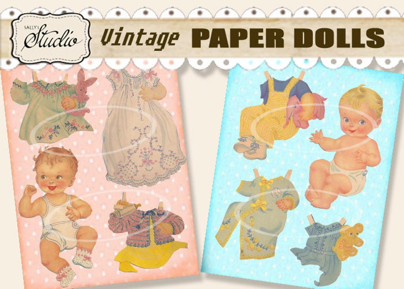 photo relating to Printable Vintage Paper Dolls called Traditional Child Paper Dolls, 1940s Printable Minimize-outs, Electronic Social gathering Favors Boy or girl Bulletins Kid Invites Printable downloads, collage