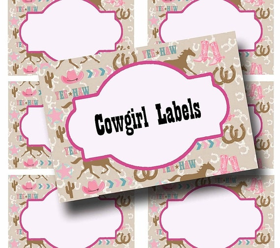 Cowgirl Party labels Printable Name Tags Western Party pink Labels Digital  Food Labels Birthday Party, Printable pink Place Cards