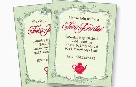 christmas tea party invitations printable custom printable etsy