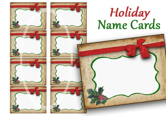 Holiday Name Cards Labels Digital Name Tags Christmas Food Etsy