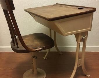 antique school desk etsy