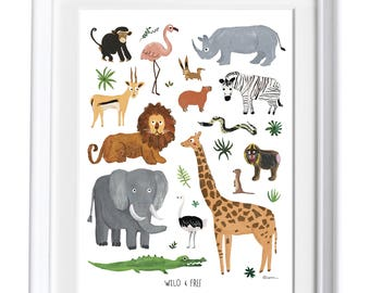 Safari Animals Art Print