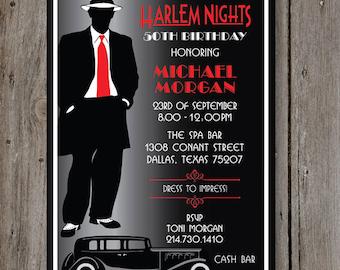Harlem Nights Birthday Party Invitation PRINTED 5 X 7