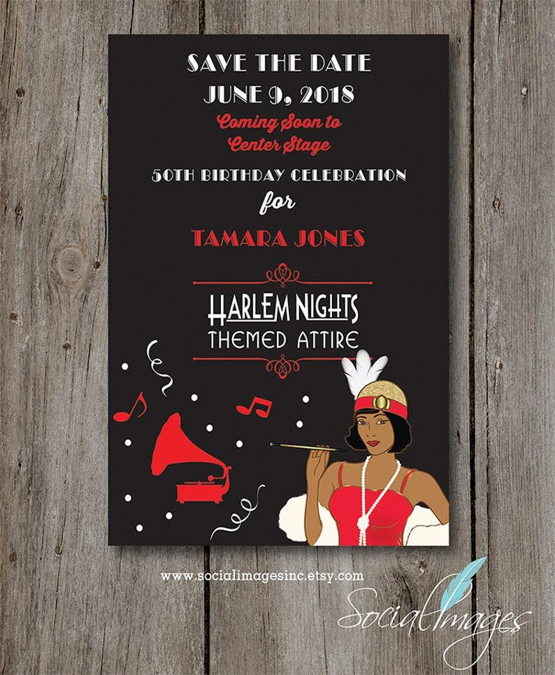 Harlem Nights Save The Date 4 X 6 Card Digital Printable Etsy
