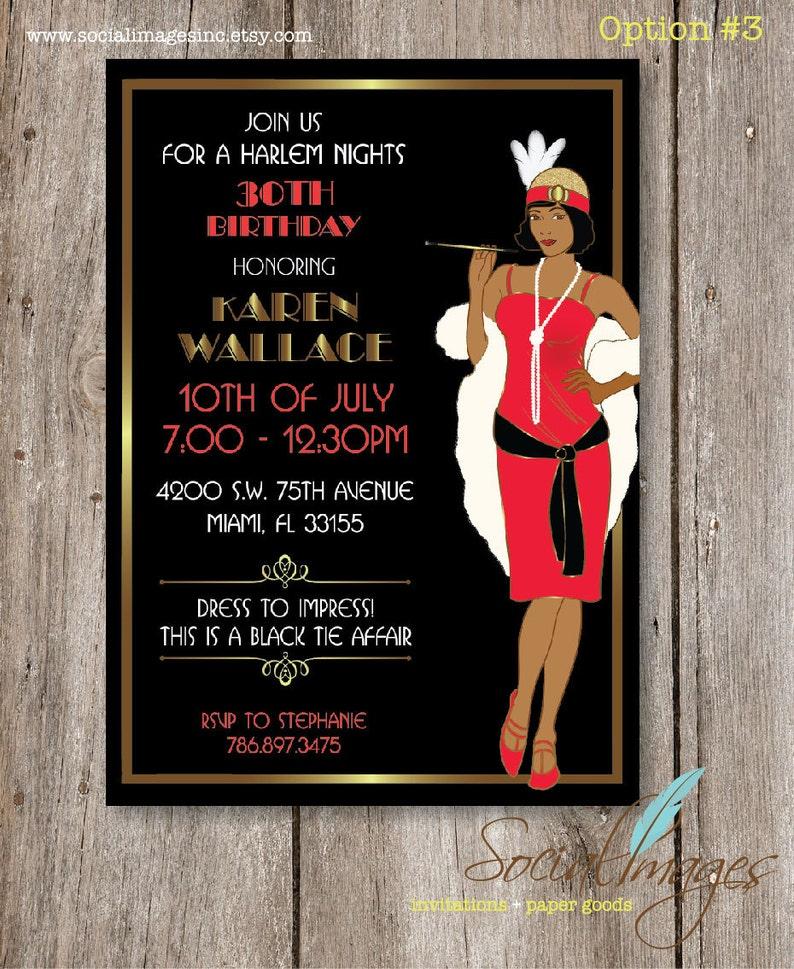 Harlem Nights Birthday Party Invitation DIGITAL FILE
