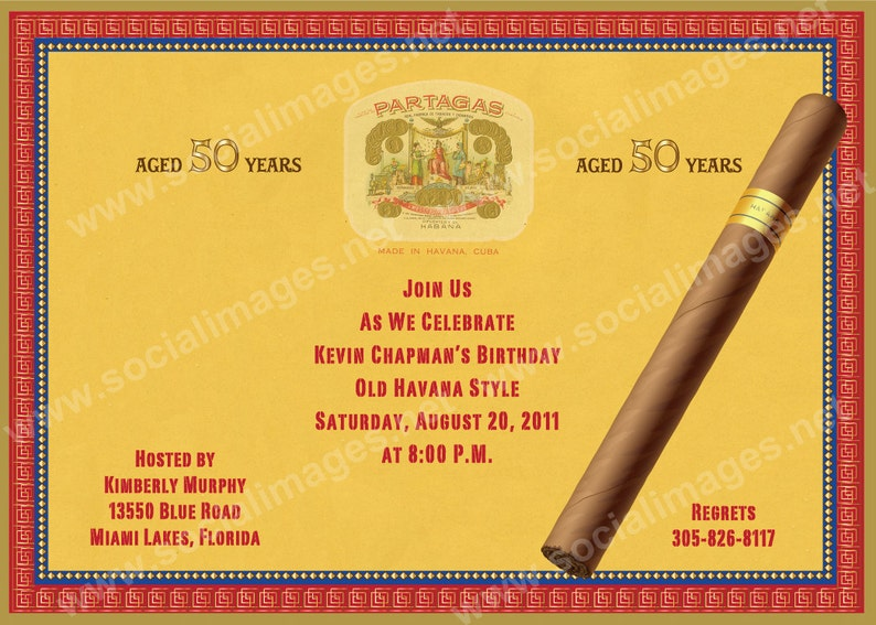 Cigar Box Label Party Invitation Qty 25 100 Pricing Includes Etsy