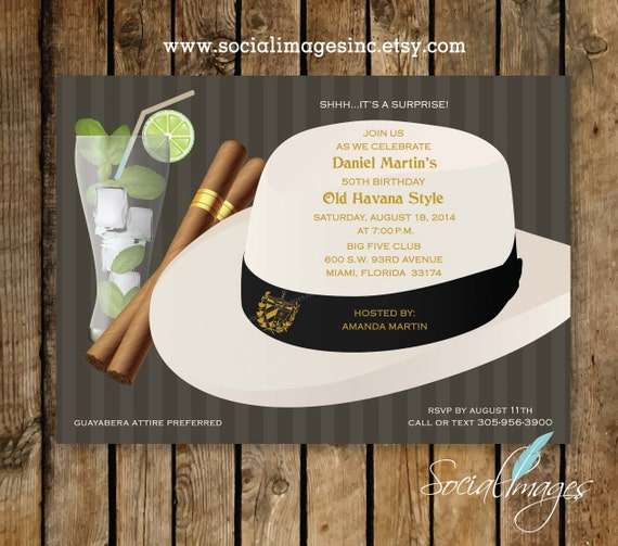 havana nights party invitation qty 25 100 pricing includes etsy